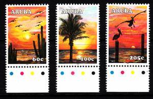 Aruba MNH Scott #265-#267 Set of 3 Sunsets: Bird and cacti, Palm tree, Pelica...