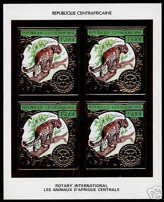Central Africa C265A Imperf Block of 4 MNH Leopard, Rotary International