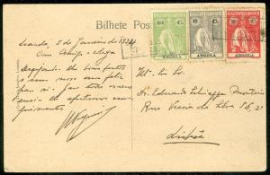 ANGOLA : 1924 Picture Post Card to Lisbon.