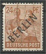 BERLIN, 1948, used 24pf  Overprinted Scott 9N9