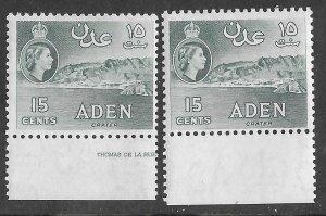 Aden # 68 Crater 15c  New Watermark - shade varieties (2)  VLH Unused