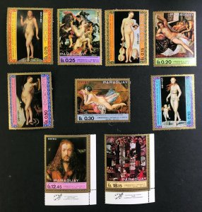 Paraguay - 7 Famous Nude Paintings + 2 Airmail one with Albrecht Durer - MNH