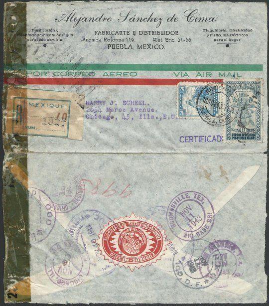 MEXICO 1943 Registered censor cover PUEBLO to Chicago......................50502