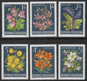 AUSTRIA 1966 ALPINE FLOWERS Set Sc 764-769 MNH