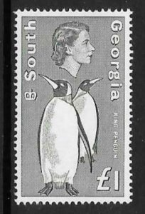 SOUTH GEORGIA SG16 1969  £1 GREY & BLACK  DEFINITIVE  MNH