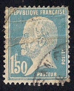 France #196 1.50FR Louis Pasteur Blue Stamp used F