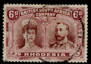 RHODESIA GV SG144, 6d red-brown & mauve, FINE USED. Cat £50. CDS