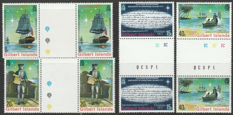 Gilbert Islands, #300-303 Unused Gutter Pairs From 1977