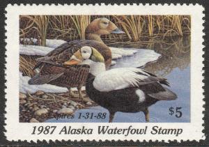 U.S.-ALASKA 3, STATE DUCK HUNTING PERMIT STAMP. MINT, NH. VF