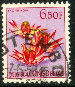 BELGIAN CONGO 1952-53 6.50fr Thonninga Flower Pictorial Sc 278 VFU