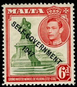 MALTA SG242, 6d olive-green & scarlet, M MINT.