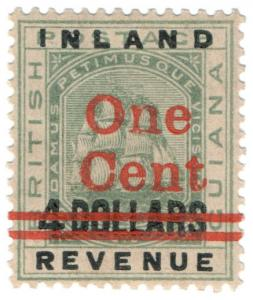 (I.B) British Guiana Revenue : Inland Revenue 1c on $4 OP