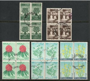 Lebanon # C285 , C325 , C395 , C396 & C397 F-VF used Blocks of 4 - I Combine S/H