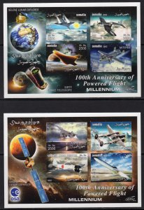 Somalia 2003 Powered Flight 100th.Anniversary 4 Sheetlets IMPERFORATED MNH
