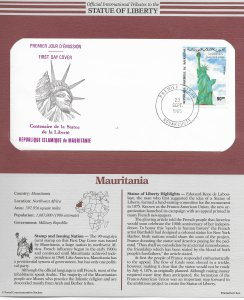 Statue of Liberty Mauritania #584. 1986  FDC with write up.