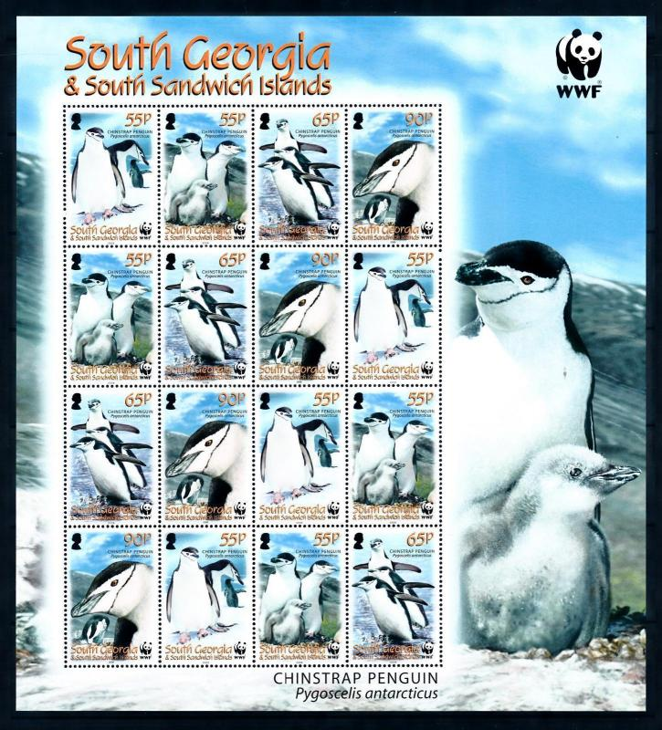 [95424] South Georgia 2008 Birds Vögel Chinstrap Penguin WWF Sheet MNH