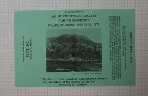 1971 MPS Falmouth ME Baxter State Park Philatelic Souvenir Label Ad