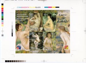 Malagasy 1999 Nudes Paintings by RENOIR Shlt.(4) CHROMALIN FINAL PROOF UNIQUE !!