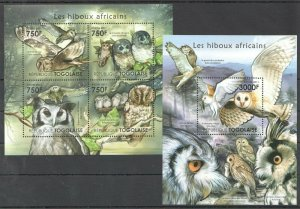 TG1024 2011 TOGO FAUNA AFRICAN BIRDS OWLS LES HIBOUX AFRICAINS BL+KB MNH
