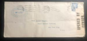 1918 Mexico city Mexico Airmail Censored consulate Cover To New York USA