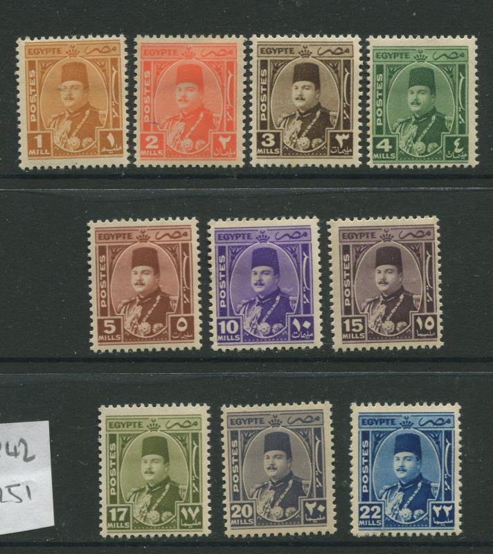 Egypt - Scott 242-251 - Definitive Issue -1944 - MH - Short Set of 10 Stamps