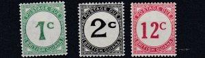 BRITISH GUIANA  1940  S G  D1 - D4  SET OF 3  LMH