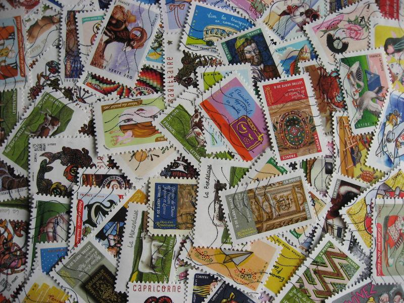 FRANCE collection 92 different used stamps issued in 2014 includes 7 long sets