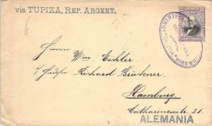 1903 Bolivia 20 Centavos Postal Stationery to Hamburg Germany via Tupiza