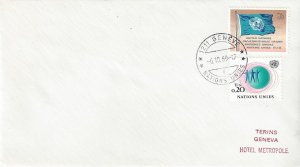 United Nations Geneva, First Day of UNPO OCT 6, 1969 Hand Cancel,