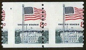 1338G Misperf Error / EFO Pair Flag Over White House Mint NH (Stk11)
