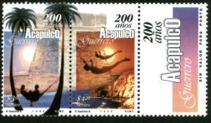 MEXICO 2116a, Acapulco, 200th Anniv pair w/label. MINT, NH. VF. (69)