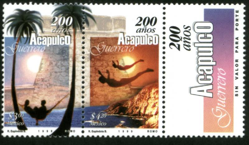 MEXICO 2116a, Acapulco, 200th Anniv pair w/label. MINT, NH. VF. (69)