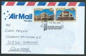 AUSTRALIA 1993 cover to Germany - nice franking - Sydney pictorial pmk.....12829