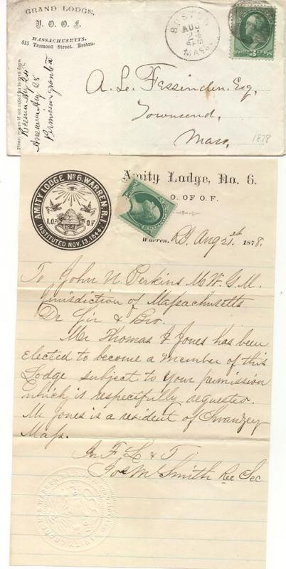 Odd Fellows Letter - Amity Lodge #6 - Boston, Mass.