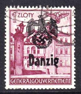 POLAND N71 DANZIG OVERPRINT USED VF SOUND GERMANY OCCUPATION