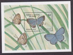 Turks & Caicos Islands # 834, Butterflies, Souvenir Sheet,  NH, 1/2 Cat.
