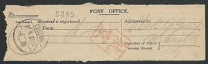 CHINA 1927 PO receipt for registered letter - CANTON cds...................61130