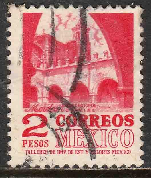 MEXICO 1096, $2P 1950 Defin 9th Issue Unwmkd Fosfo Glazed. USED. F-VF. (1450)
