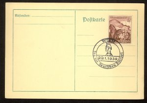 GERMANY USED IN AUSTRIA 1939 15+10pf Sc AB129 on Card w DAY OF THE GERMAN POLICE