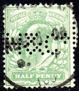 1902 Sg218 ½d yellowish green (H&Co - Horstman & Co Perfin) Single Circle Cancel