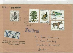 Cyprus 1979 Slogan Cancel Regd Airmail Flora & Fauna Stamps Cover Ref 30532