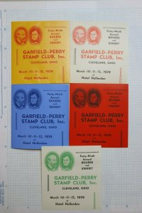 Garfield Perry Stamp Club 49th 1939 Expo Cleveland OH Souvenir Labels Set 5