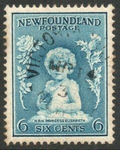 NEWFOUNDLAND-1933 6c Light Blue Sg 214 slight toning GOOD USED V46311