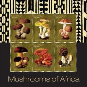 Uganda - Mushrooms of Africa - 6 Stamp  Sheet - UGA1205