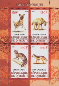 Djibouti Wild Animals Fauna of Africa Fox Souvenir Sheet of 4 Stamps MNH