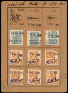 Germany 1935 Reichsmusikkammer Chamber MUSIC Revenue Stamps Membership ID 77165