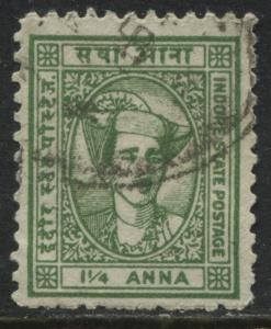 India Indore State 1941 1 1/4 anna green used