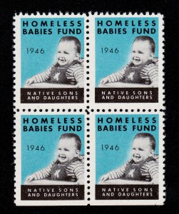 POSTER STAMP HOMELESS BABIES FUND - NATIVE SONS AND DAUGHTERS 1946 MNH-OG BLK 4