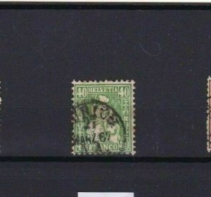 SWITZERLAND 1862  40c GREEN STAMP CAT £85+   R 3396