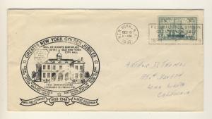 US - 1947 Scott 951 on GREATER NEW YORK GOLDEN JUBILEE cover (cachet & slogan)